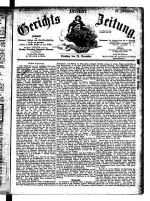Berliner Gerichts-Zeitung vom 23.12.1873