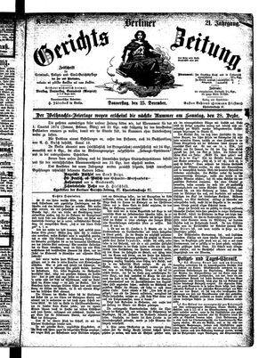 Berliner Gerichts-Zeitung vom 25.12.1873