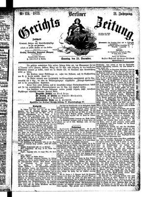 Berliner Gerichts-Zeitung vom 28.12.1873