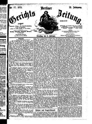 Berliner Gerichts-Zeitung vom 09.02.1875