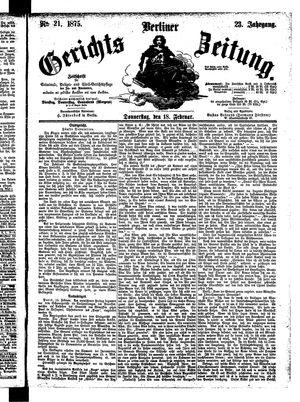 Berliner Gerichts-Zeitung vom 18.02.1875