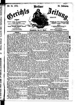 Berliner Gerichts-Zeitung vom 17.04.1875