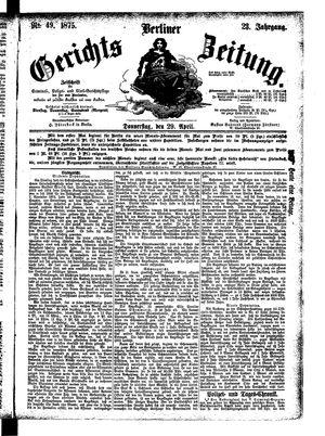 Berliner Gerichts-Zeitung vom 29.04.1875