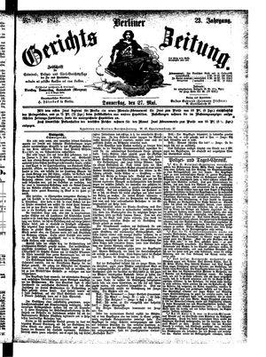 Berliner Gerichts-Zeitung vom 27.05.1875
