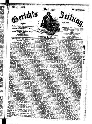 Berliner Gerichts-Zeitung vom 15.07.1875