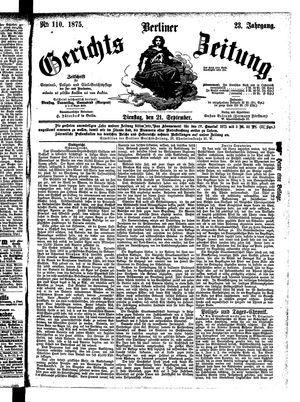 Berliner Gerichts-Zeitung vom 21.09.1875