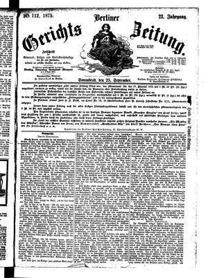 Berliner Gerichts-Zeitung vom 25.09.1875