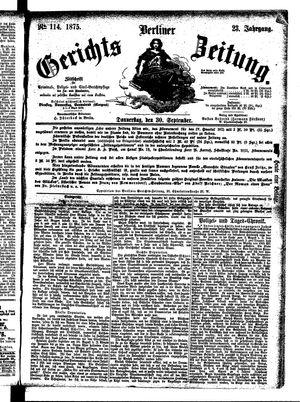 Berliner Gerichts-Zeitung vom 30.09.1875