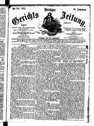Berliner Gerichts-Zeitung vom 23.11.1875