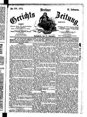 Berliner Gerichts-Zeitung vom 27.11.1875