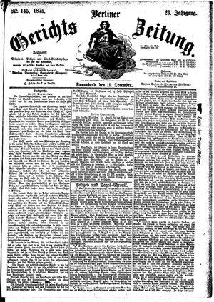 Berliner Gerichts-Zeitung vom 11.12.1875