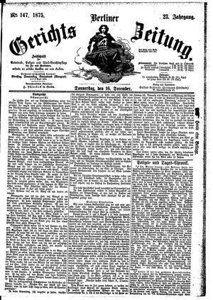 Berliner Gerichts-Zeitung vom 16.12.1875