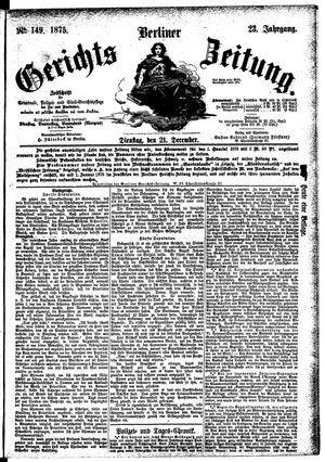 Berliner Gerichts-Zeitung vom 21.12.1875