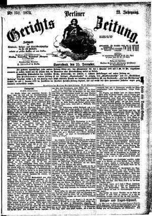 Berliner Gerichts-Zeitung vom 25.12.1875