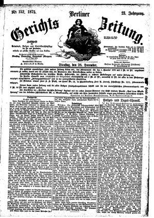 Berliner Gerichts-Zeitung vom 28.12.1875