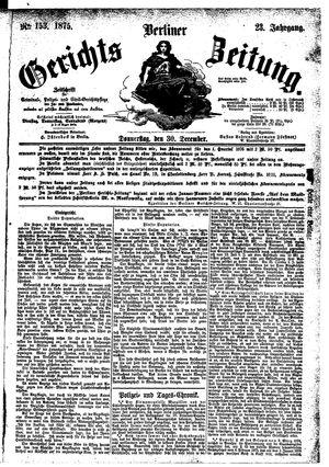 Berliner Gerichts-Zeitung vom 30.12.1875