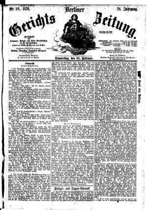 Berliner Gerichts-Zeitung vom 10.02.1876