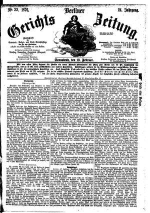 Berliner Gerichts-Zeitung vom 19.02.1876