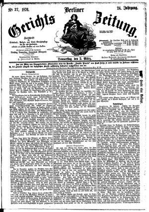 Berliner Gerichts-Zeitung vom 02.03.1876