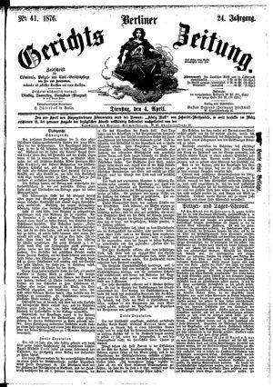 Berliner Gerichts-Zeitung vom 04.04.1876