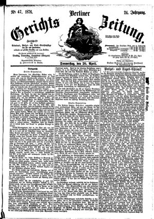 Berliner Gerichts-Zeitung vom 20.04.1876