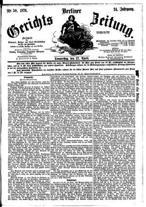 Berliner Gerichts-Zeitung vom 27.04.1876