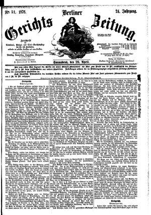 Berliner Gerichts-Zeitung vom 29.04.1876