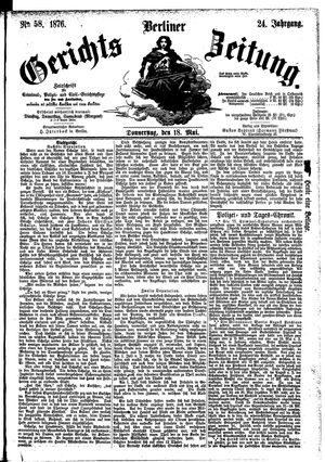 Berliner Gerichts-Zeitung vom 18.05.1876