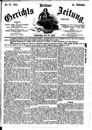 Berliner Gerichts-Zeitung vom 22.06.1876