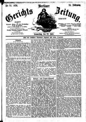 Berliner Gerichts-Zeitung vom 29.06.1876