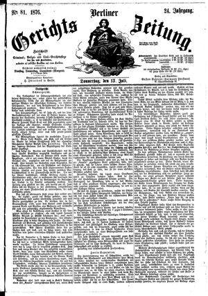 Berliner Gerichts-Zeitung on Jul 13, 1876