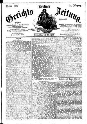 Berliner Gerichts-Zeitung vom 20.07.1876