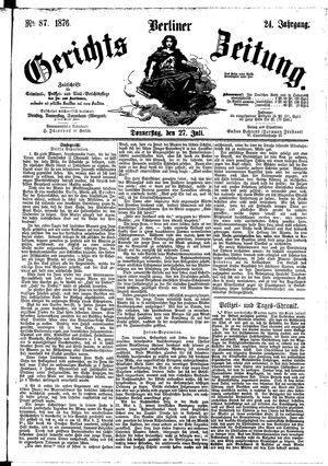 Berliner Gerichts-Zeitung vom 27.07.1876