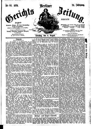 Berliner Gerichts-Zeitung vom 08.08.1876