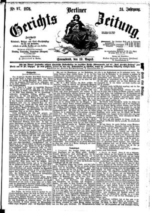 Berliner Gerichts-Zeitung vom 19.08.1876