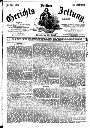 Berliner Gerichts-Zeitung vom 22.08.1876