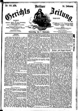 Berliner Gerichts-Zeitung vom 07.09.1876
