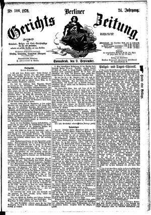 Berliner Gerichts-Zeitung vom 09.09.1876