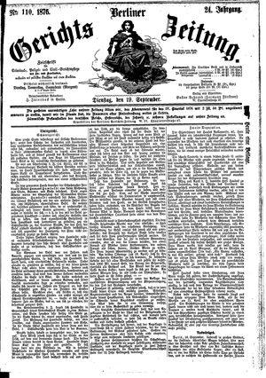 Berliner Gerichts-Zeitung vom 19.09.1876