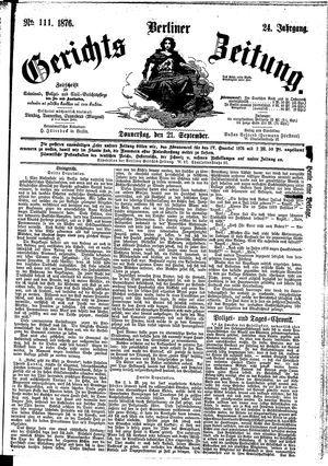 Berliner Gerichts-Zeitung vom 21.09.1876