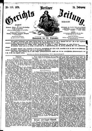 Berliner Gerichts-Zeitung vom 30.09.1876