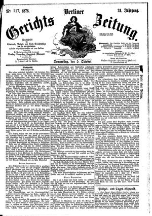 Berliner Gerichts-Zeitung vom 05.10.1876