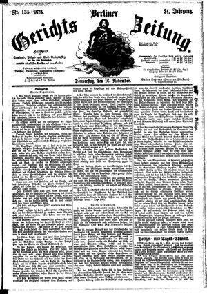 Berliner Gerichts-Zeitung vom 16.11.1876