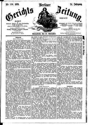 Berliner Gerichts-Zeitung vom 18.11.1876
