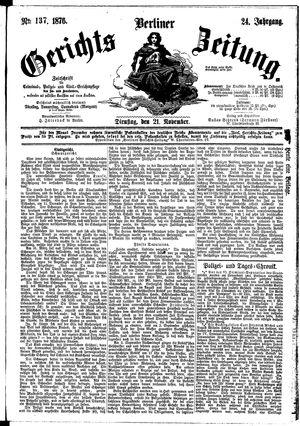Berliner Gerichts-Zeitung vom 21.11.1876