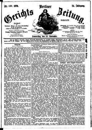 Berliner Gerichts-Zeitung vom 23.11.1876