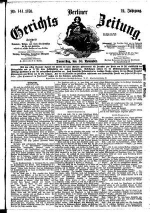 Berliner Gerichts-Zeitung vom 30.11.1876