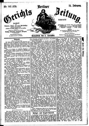 Berliner Gerichts-Zeitung vom 02.12.1876