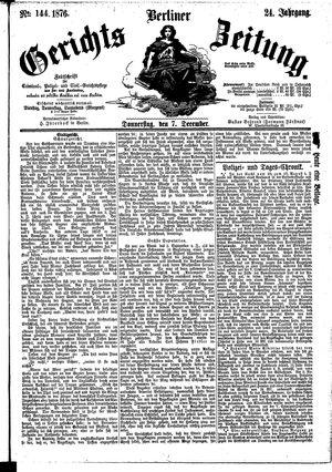 Berliner Gerichts-Zeitung vom 07.12.1876