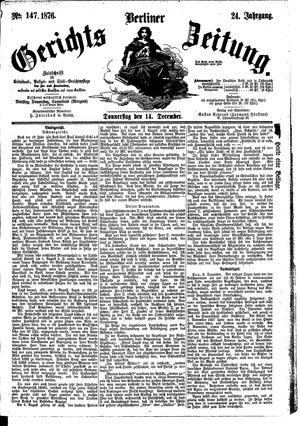 Berliner Gerichts-Zeitung vom 14.12.1876